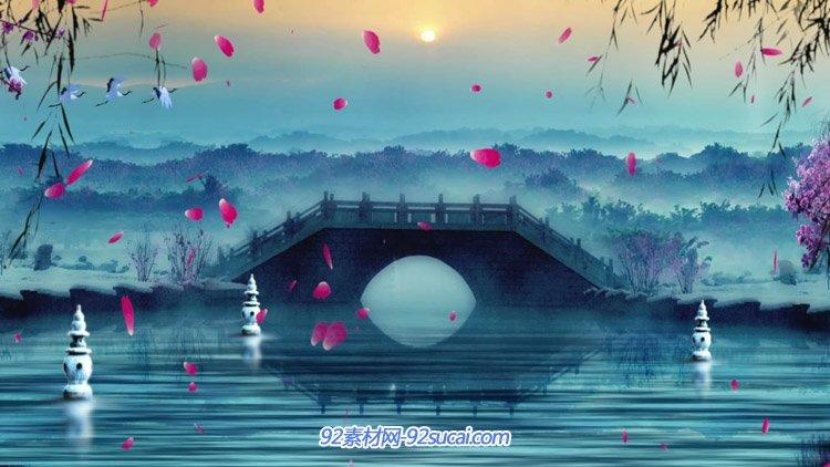 江南拱桥大雁花瓣飘舞俏丽雪景水墨中国作风舞台背景动态视频素材