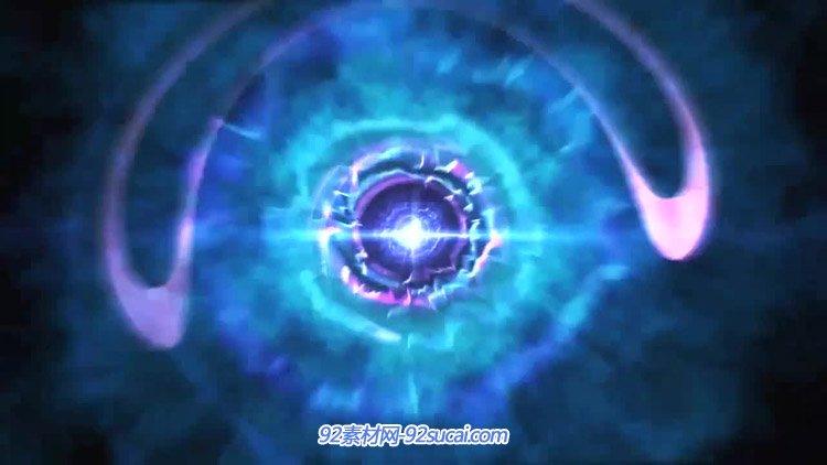 强烈视觉冲击 蓝色科技隧道光晕圈圈波纹运动动态视频素材