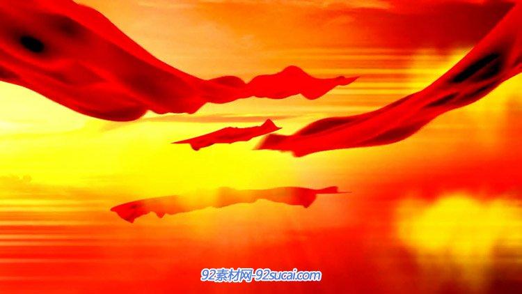 漫天飞舞喜庆红绸缎飘舞 党政类舞台背景动态视频素材(有音乐)