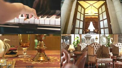 初级星级旅店会所大堂 玉人弹钢琴红酒花瓣浴熏香SPA推拿高清实拍