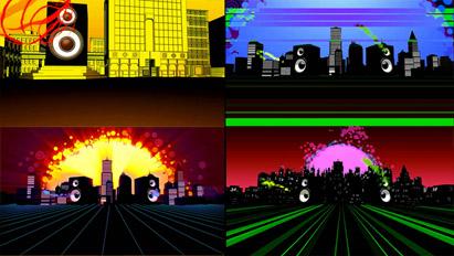 4组震撼动感城市喇叭音响颤动 动态背景视频素材
