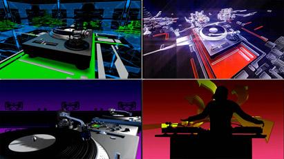 4组酒吧夜总会DJ打碟动画 动态视频素材
