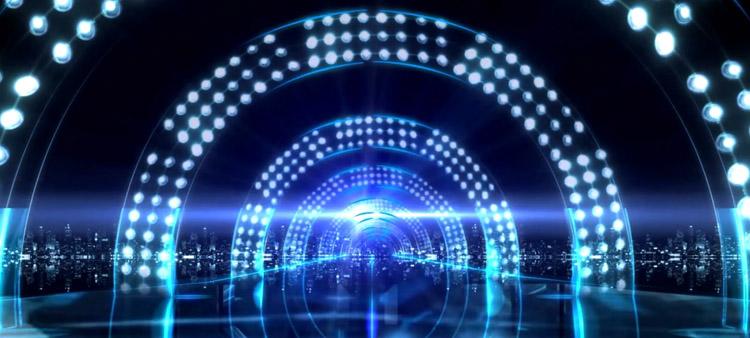 炫丽科技电光拱桥形隧道不断延伸 动态视频素材