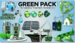19组c4d模型库之健康绿色环保主题 能源素材包