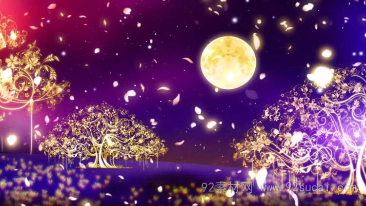 唯美梦幻荧光树生长 圆明月当空LED舞台背景动态视频素材(有音乐)