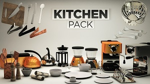 30组C4D厨房工具模型包 The Pixel Lab Kitchen Pack[厨房]
