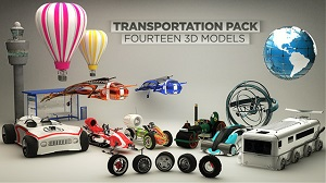 C4D交通运输工具模型库 The Pixel Lab Transportation Pack