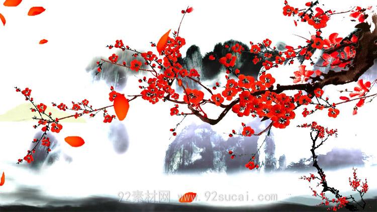 红梅枝水墨梅花中国风花瓣飘落风轻云淡唯美LED舞台背景视频素材