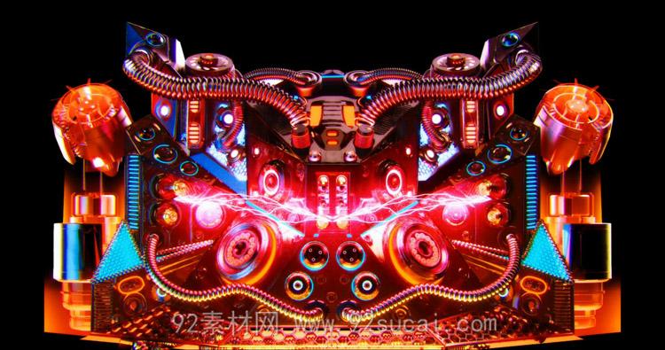 3D机械科技电光闪舞变幻 高清动态背景视频素材