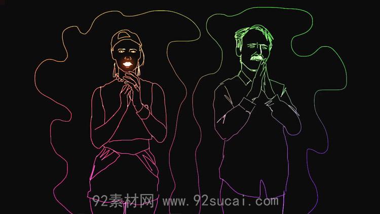 发光线条人物文字 乐队弹奏演唱舞蹈动态背景视频素材