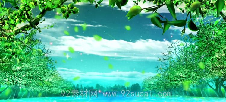 唯美梦幻的四季花开景色 四季如春花瓣飘落舞台背景动态视频素材