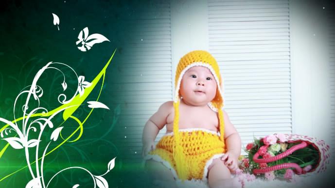 《綠色溫馨相冊》會聲會影模板家庭兒童個人寫真電子相冊片頭視頻模板