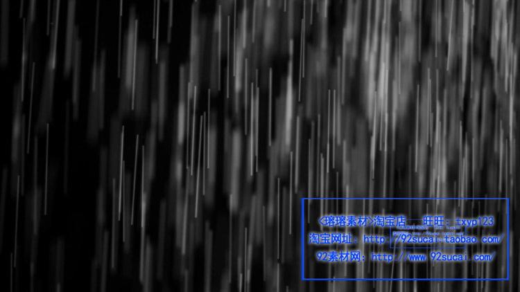 共有21段雨水特效视频,全部带通道,MP4格式,在后期编辑软件中,只需将特效视频在其它素材上相加就可以看到效果!无水印 【视频数量】21段(视频是分段的哦~) 【视频格式】MP4 【视频码率】16432 kbps~50447 kbps 【视频帧率】24 fps 【视频大小】总大小2.05 GB 【视频尺寸】2048*1152 【视频时长】总时长7分;单12~25秒之间 【视频截图】