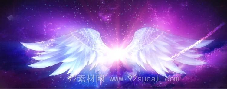 挥着翅膀的女孩 云端天使的翅膀歌曲舞台背景动态视频素材