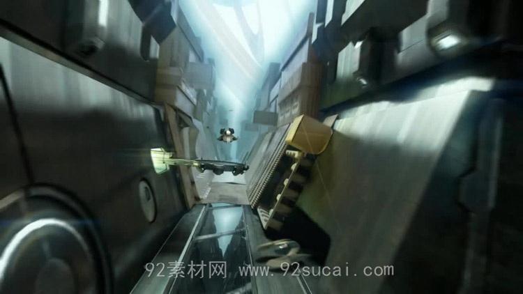 酷炫科技位移金属飞船 游戏战役动画场景静态视频