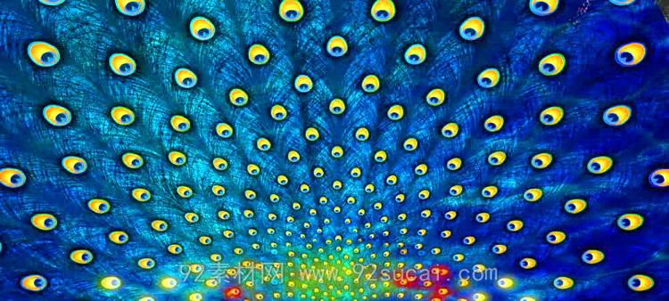 七彩烟雾飞射 绚丽孔雀羽毛波光大屏幕LED舞台背景动态视频素材