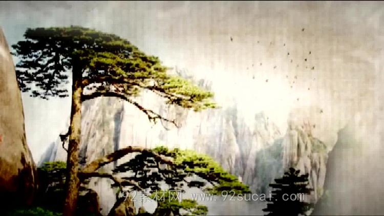 中国风水墨墨迹古典画卷风格 水墨山水画云雾led动态背景视频素材