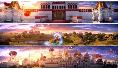 夢幻卡通童話國度城堡 熱氣球魔法橋 舞臺背景動態視頻素材