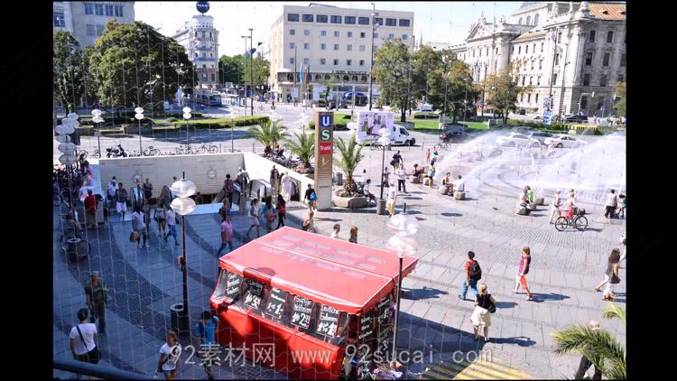 4K超高清城市人流 卡尔广场来来往往的人群高清实拍视频素材