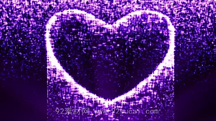 紫色心型光影 粒子爱心瀑布婚礼婚庆 浪漫婚宴舞台背景动态视频