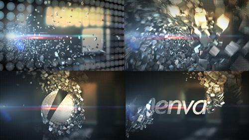 超赞浩繁晶体状金属标记会聚笔墨文本展现AE视频模板