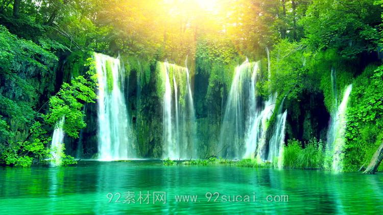 唯美梦幻的山水瀑布 阳光清新大自然LED舞台背景动态视频素材