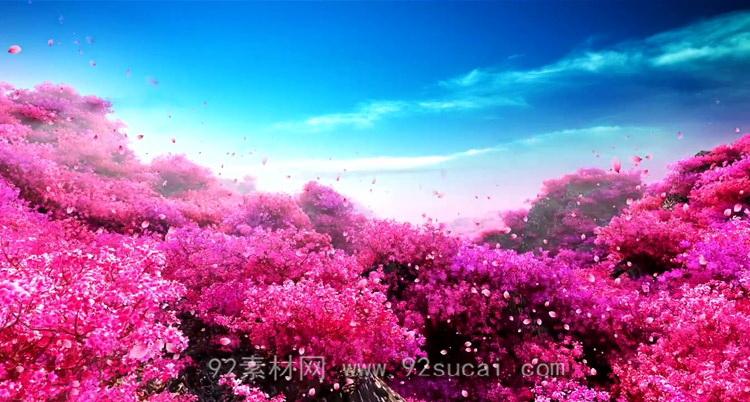 唯美浪漫的桃花园林 花瓣飞舞婚礼婚庆LED舞台背景动态视频素材