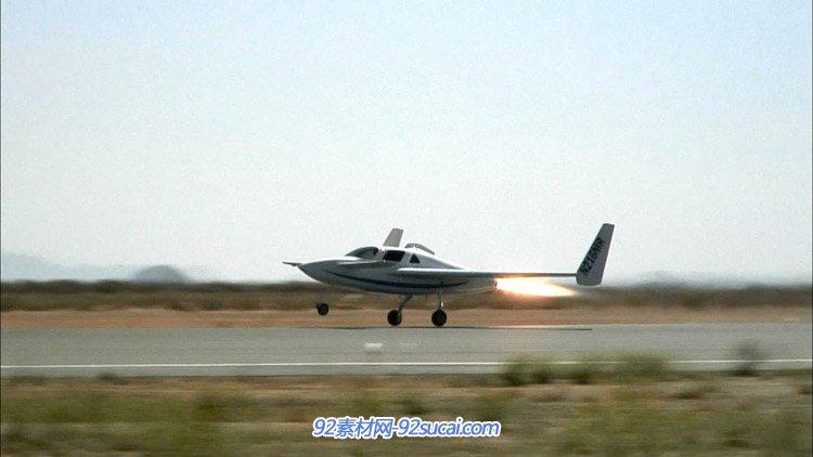 小型飞机起飞尾部喷射出的火焰 高清实拍视频素材