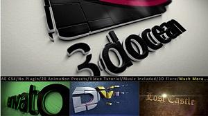 三维LOGO标志制作动画标题介绍套件素材包(预设、素材、工程文件