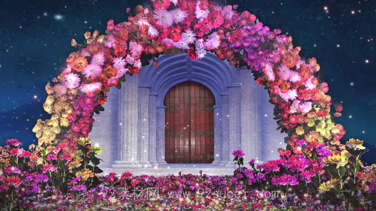 婚姻殿堂婚礼宫殿 婚庆拱形花环婚礼庆典开场LED舞台背景视频素材