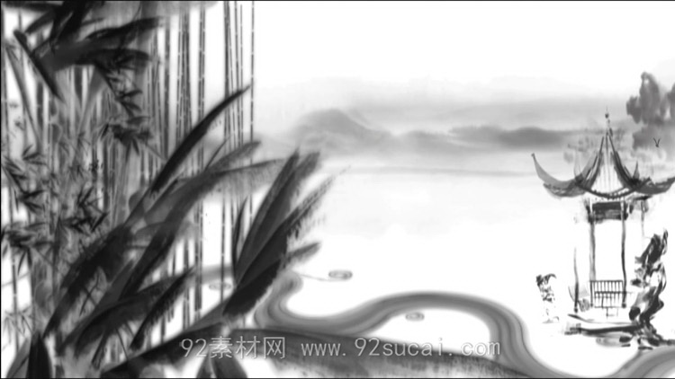中国风水墨国画风格 凉亭竹子河流LED舞台背景高清动态视频素材