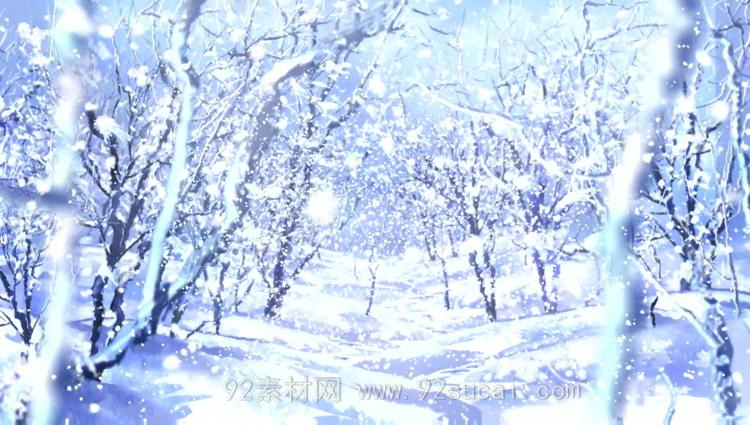 大雪飘落雪花纷飞的树林 白色世界圣诞新年高清背景动态视频素材