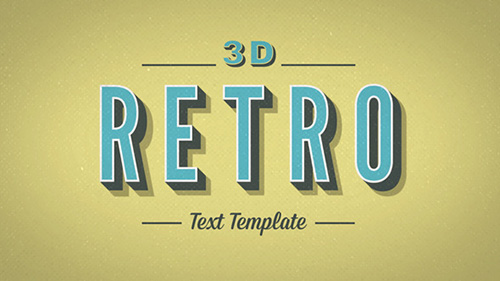 3D動態字體ae模板3D retro-kinetic-typography