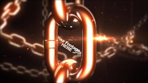 震撼空间金属3D铁链笔墨标题预报收场片头AE模板 Chain