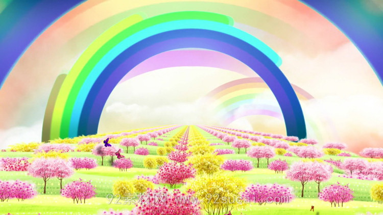 清新花海向日葵彩虹6.1六一儿童节LED舞台背景动态视频素材