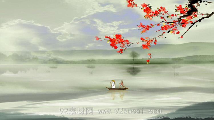 中国风水墨轻舟划过河流红梅轻舟已过万重山舞台动态背景视频素材