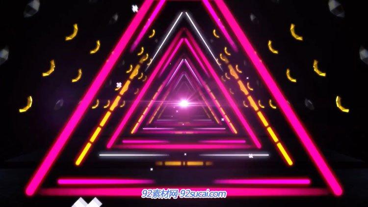动感酒吧夜场炫彩三角霓虹灯管穿越 静态配景视频素材(有音乐)
