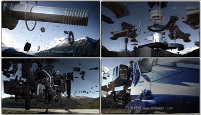 [4K高清]直升飞机零件组装变形到起飞 高清酷炫科技演示片视频