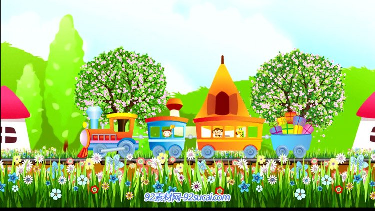 卡通小鸟铅笔房子小火车 花朵绿树六一儿童节LED舞台背景视频素材