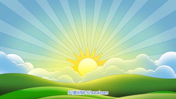 6·1 六一儿童节卡通太阳 蓝天白云绿地太阳高清动态背景视频素材