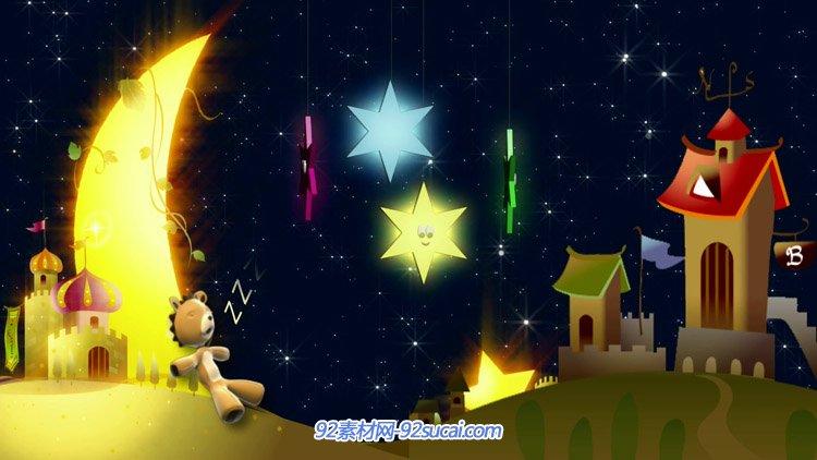 卡通儿童小熊 月牙星空星星城堡六一儿童节高清动态背景视频素材