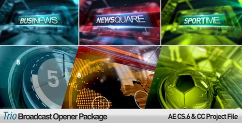 新闻广播片头ae模板Trio Broadcast Openers Package