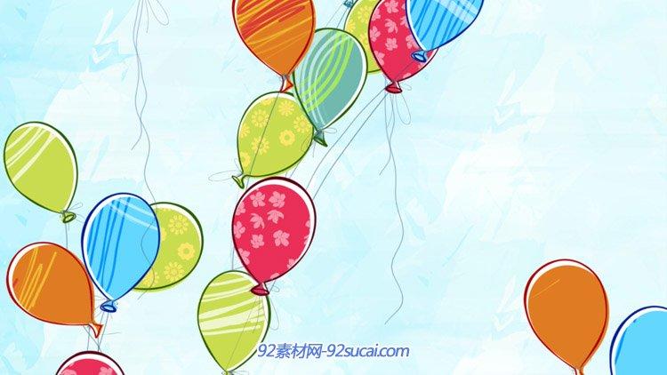 卡通儿童七彩气球升空 六一儿童节LED舞台配景静态视频素材