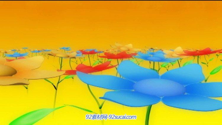 卡通花朵七色花生长 6.1六一儿童节舞台演出LED动态背景视频素材