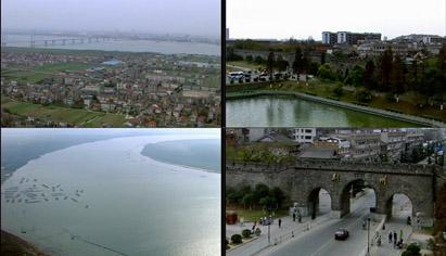 航拍古城湖北荆州城门 荆江大堤城市航拍高清实拍视频素材