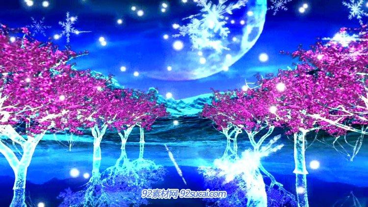 唯美梦幻的湖面琉璃树 神秘月色雪花飘落 LED舞台背景视频素材
