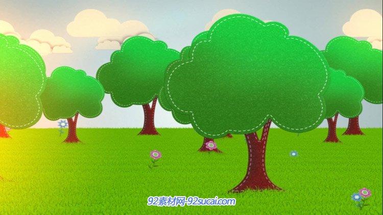 卡通绿色草地绿色大树 小花6.1六一儿童节日演出背景动态视频素材