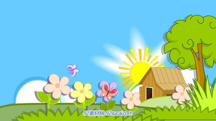 6.1六一儿童节 卡通绿树太阳草地花朵小木屋蓝天演出背景动态视频