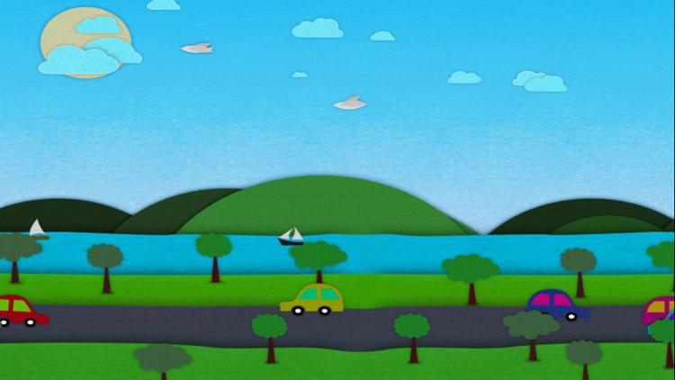 卡通兒童綠樹小汽車 歡樂六一兒童節晚會演出動態背景視頻素材