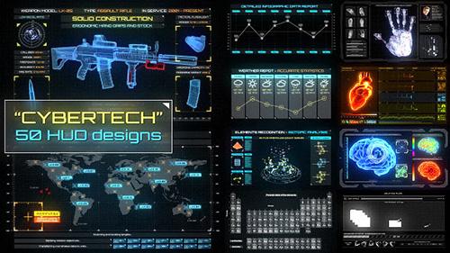 科幻感HUD游戏信息图表展示ae模板CyberTech HUD Infographic Pac